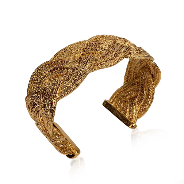 Chanel Gold Metal Braided Cuff Bangle Bracelet