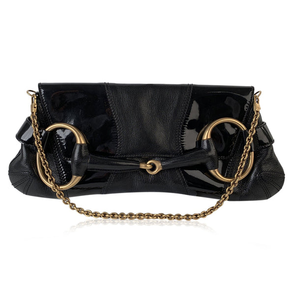 Gucci Black Patent Leather Horsebit Clutch Shoulder Bag Tom Ford Era