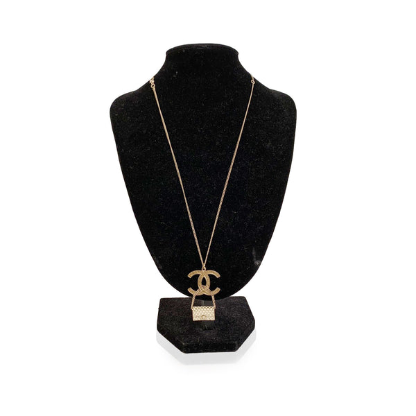 Chanel Gold Metal Necklace with Enamel CC Flap Bag Pendant