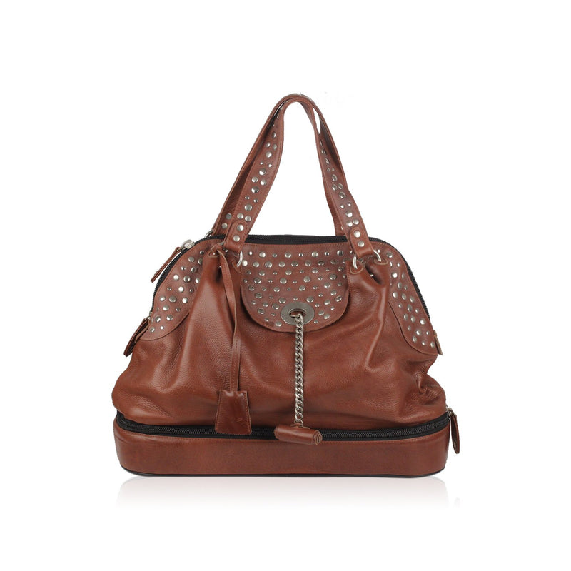 Studded Large Top Handles Bag