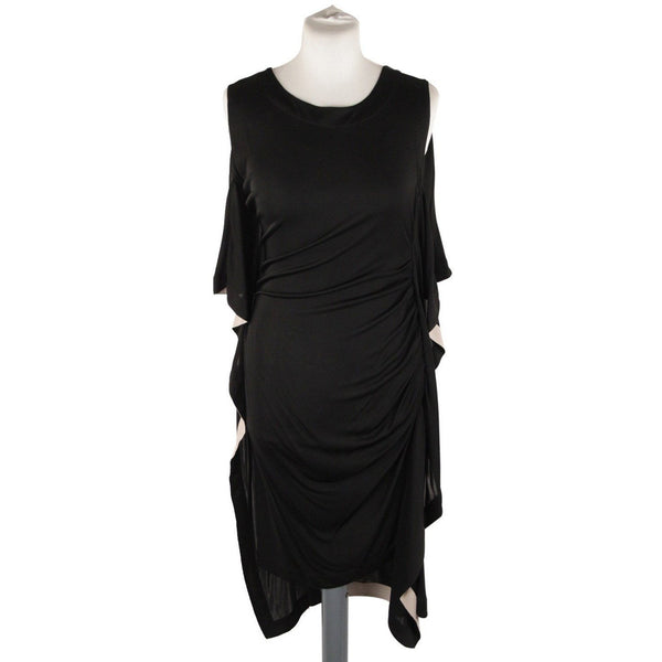 Vionnet Black Silky Sleeveless Dress Knee Lenght with Frills