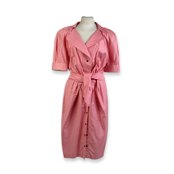 Thierry Mugler Vintage Pink Cotton Belted Shirt Dress Size 44