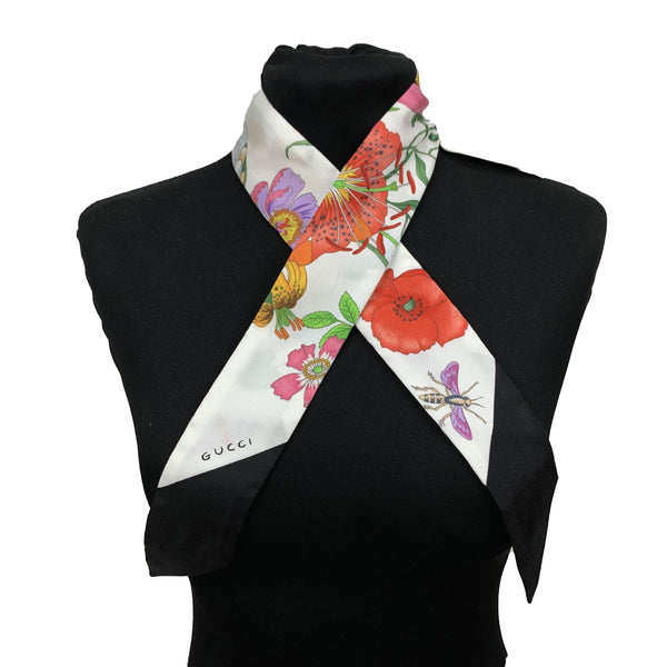 Gucci Multicolor Silk Flora Twilly Scarf Wrap Bandeau