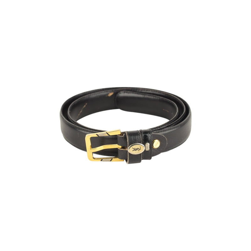 Yves Saint Laurent Vintage Black Leather Belt