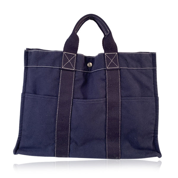 Hermes Paris Vintage Blue Cotton Canvas Tote Handbag Fourre Tout GM
