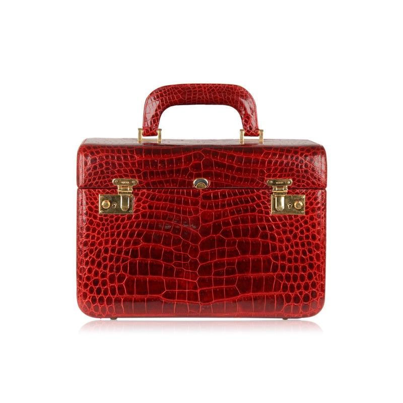 Gucci Burgundy Crocodile Travel Bag Train Case