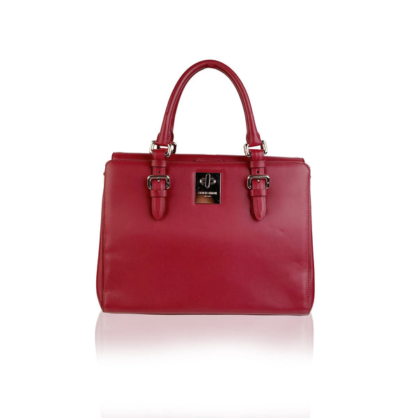 Giorgio Armani Red Leather Top Handles Bag Satchel with Strap - OPHERTY & CIOCCI