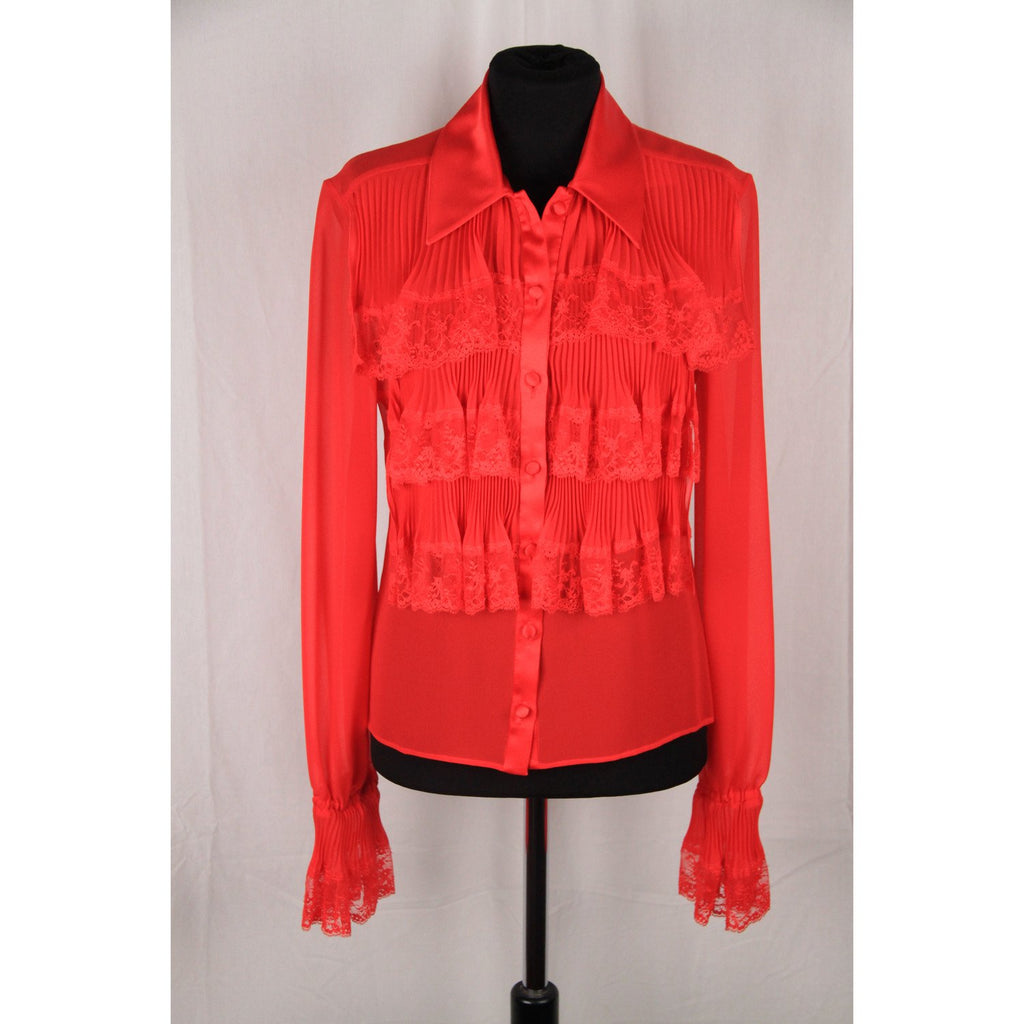 VALENTINO Red Silk LACE RUFFLED Shirt Size 6