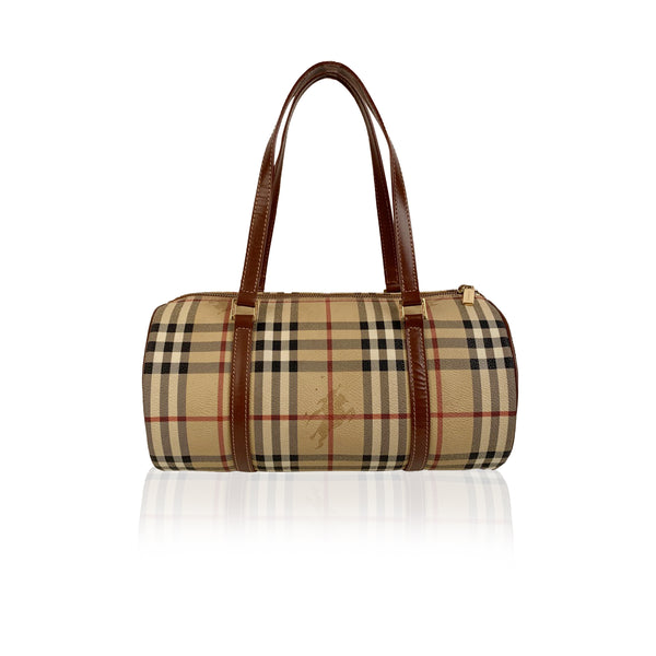 Burberry Beige Nova Check Canvas Handbag Satchel
