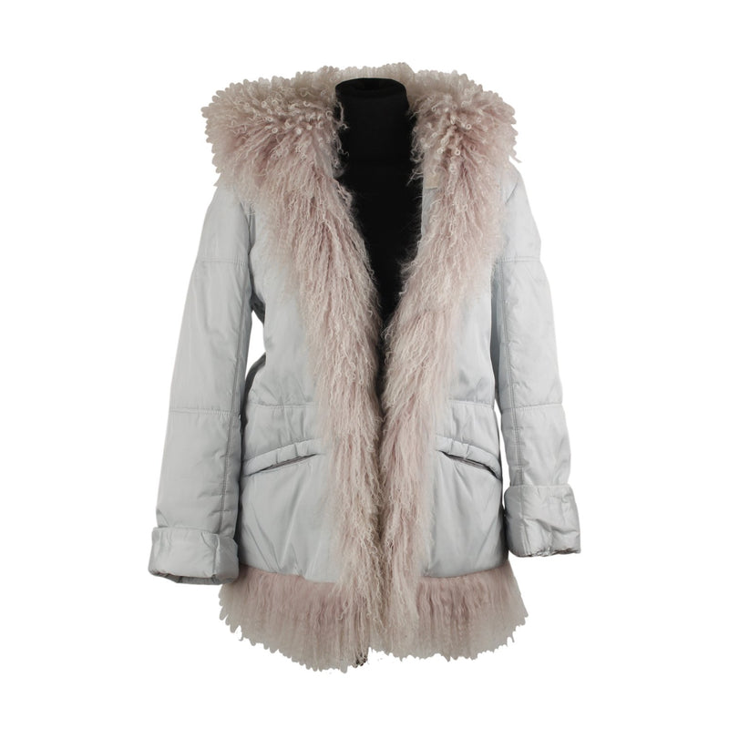 D Scervino Hooded Jacket with Fur Trim Size 42