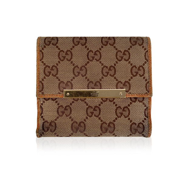 Gucci Tan Monogram Canvas Compact Wallet Coin Purse