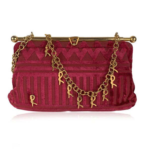 Roberta Di Camerino Vintage Red Cut Velvet Bag with Chain Strap