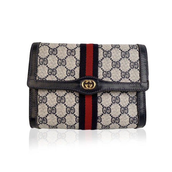 Gucci Vintage Monogram Canvas Flap Cosmetic Bag Clutch with Stripes