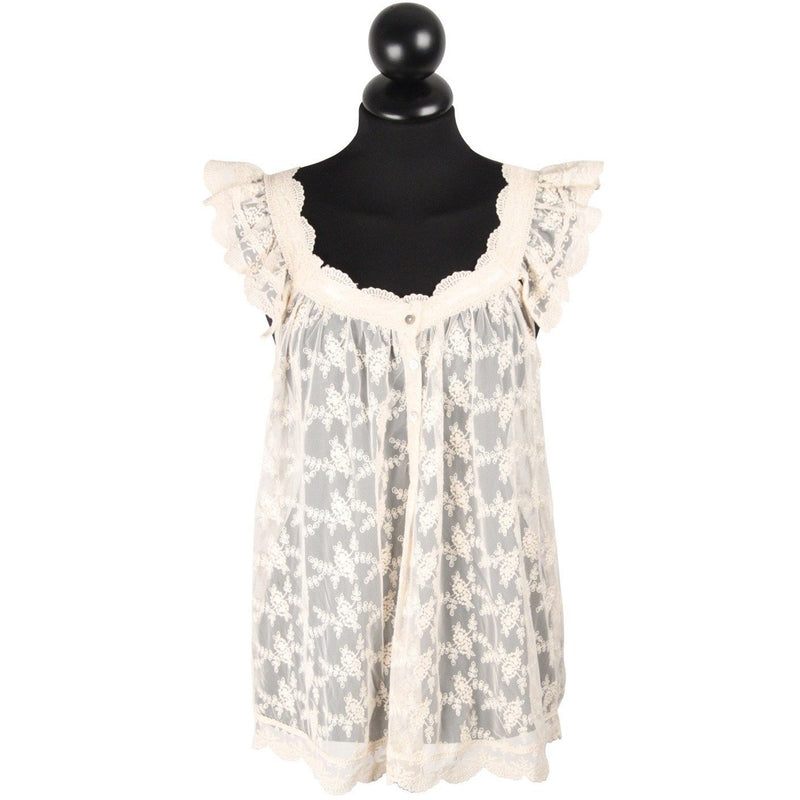 NOLITA Ivory LACE Nylon Sleeveless TOP Blouse SIZE L