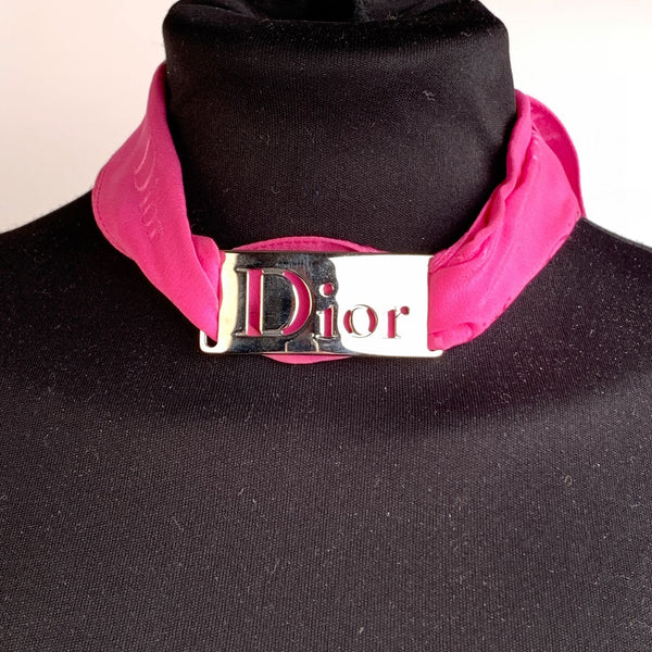 Christian Dior Pink Neck Scarf Band with Cut Out Logo Buckle