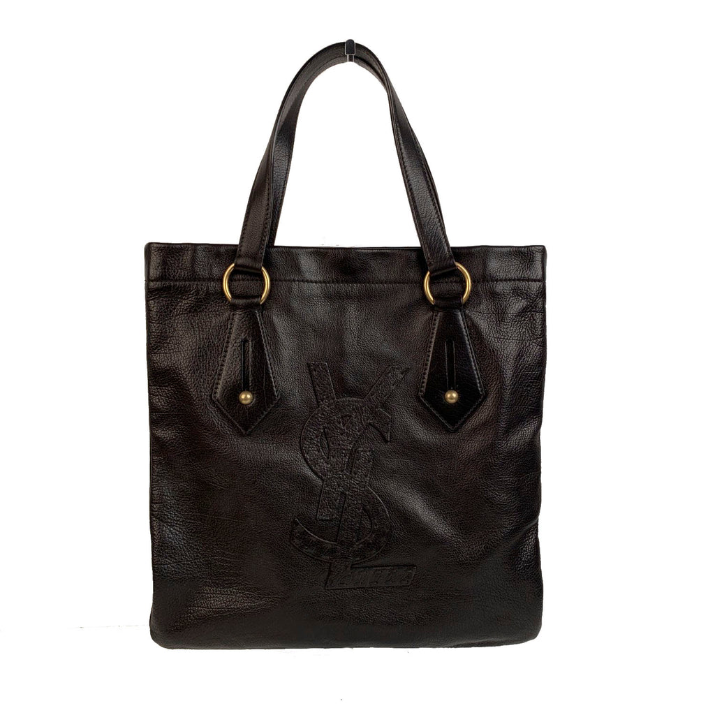 Yves Saint Laurent Black Leather Tote Shopping Bag with Logo