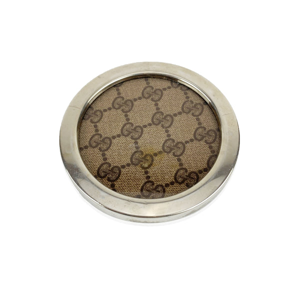 Gucci Vintage Brown Monogram Round Coaster Barware
