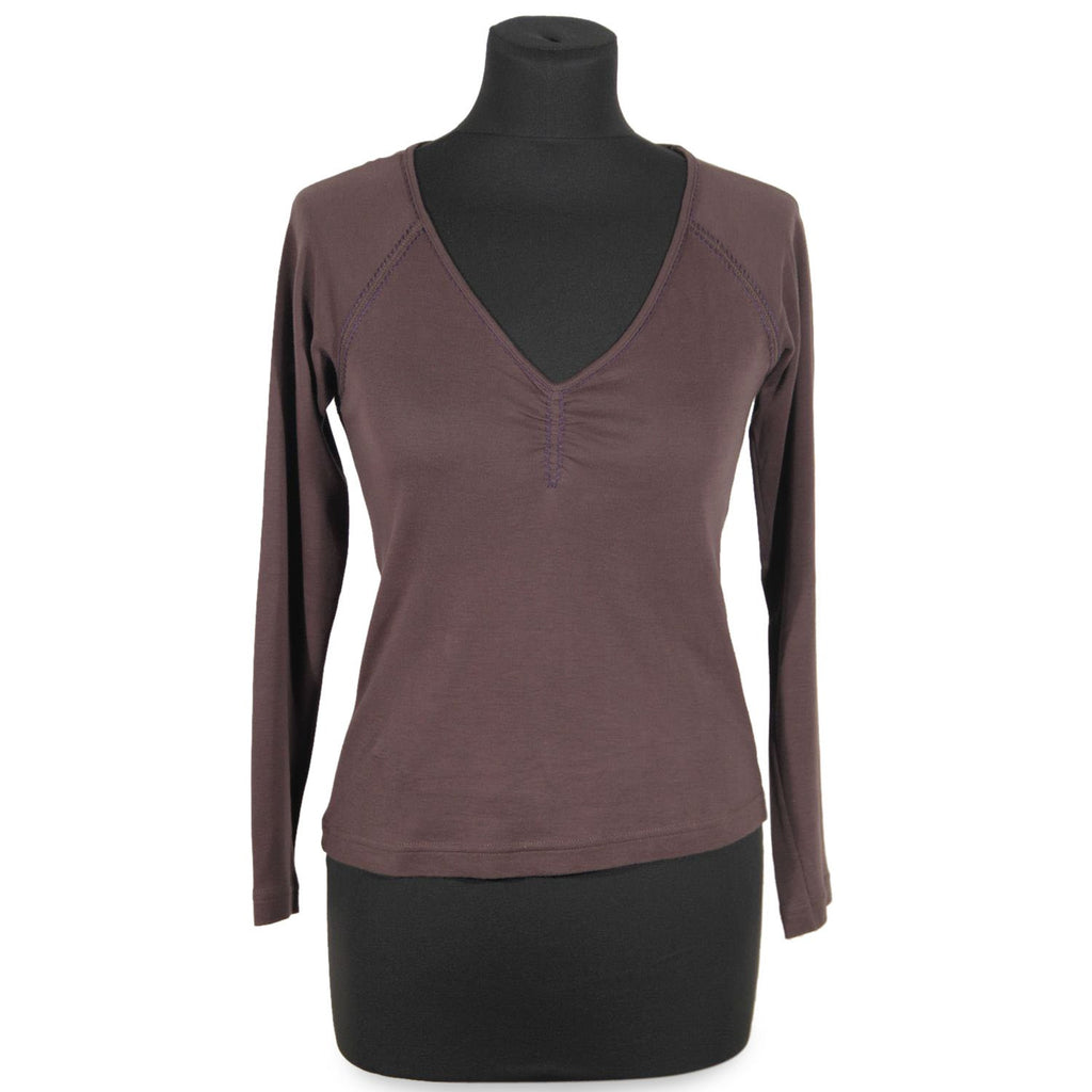 Cacharel Brown V-neck Jumper Long Sleeve Top Tee