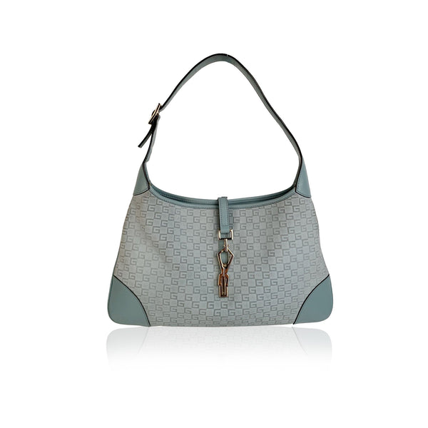 Gucci Light Blue Embossed Suede Monogram Jackie Hobo Bag