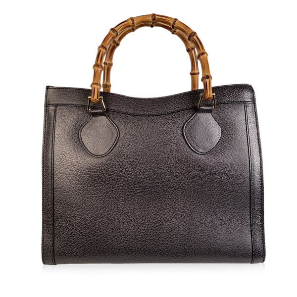 Gucci Vintage Gray Leather Princess Diana Bamboo Tote Bag