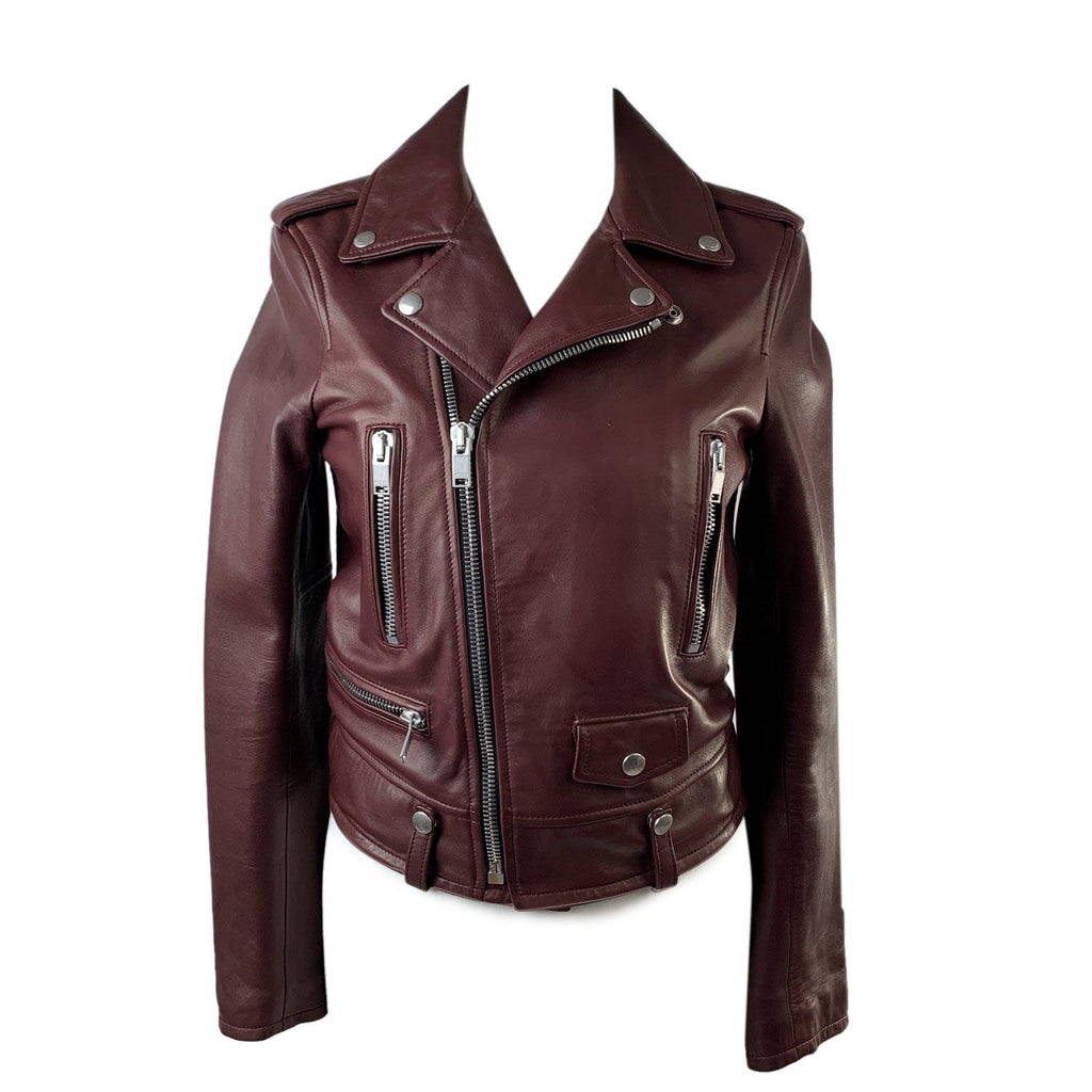 Saint Laurent Brown Leather Biker Women Jacket Size 36 - OPHERTY & CIOCCI
