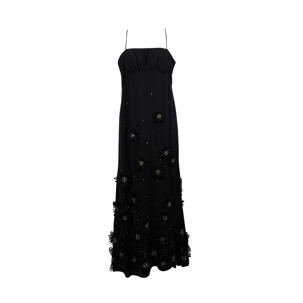 Valentino Black Evening Gown Maxi Dress with Flower Applique Size S