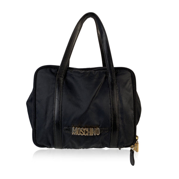 Moschino Redwall Vintage Black Nylon 3 Compartments Small Satchel Bag