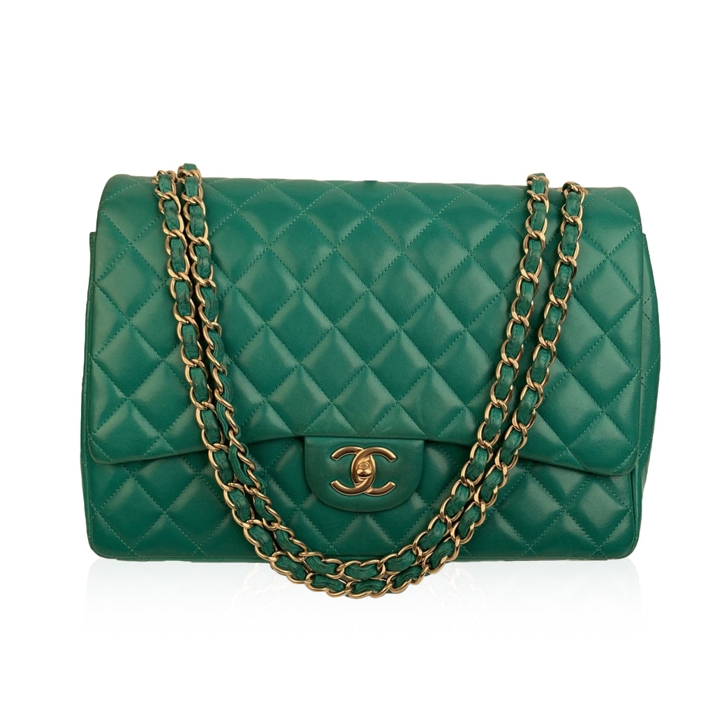 Chanel Green Quilted Leather Maxi Classic Flap 2.55 Shoulder Bag