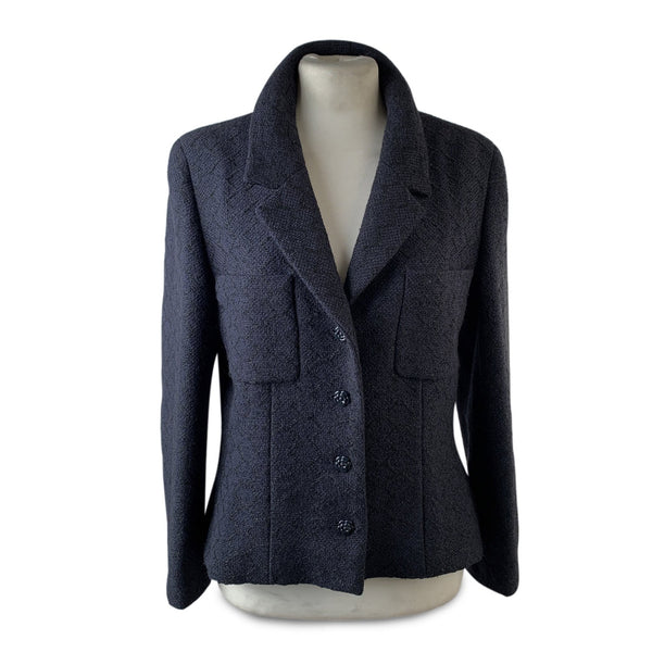 Chanel Navy Blue and Black Tweed Wool Blend Blazer Size 38