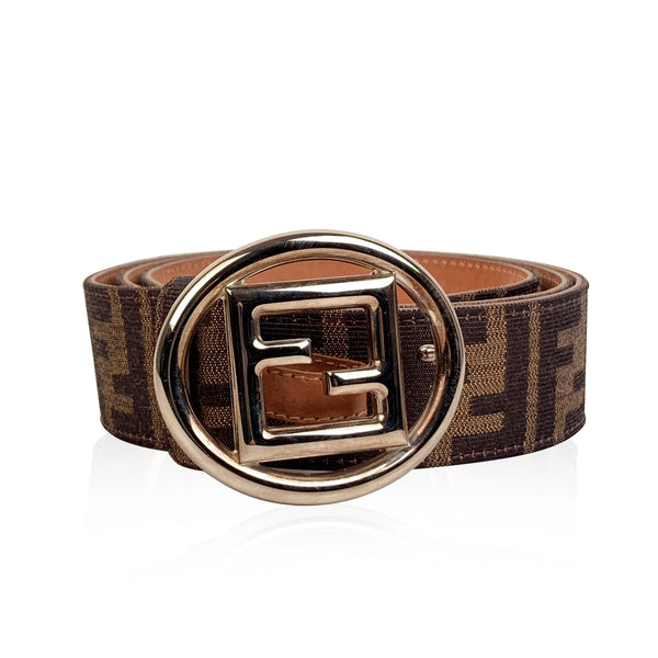 Fendi Zucca Monogram Canvas Belt FF Buckle Size 100/40
