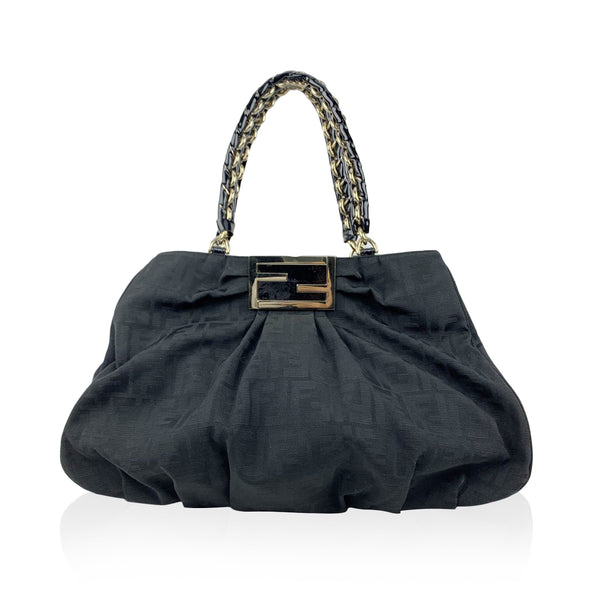 Fendi Black Zucca Monogram Canvas Mia Chain Tote Bag
