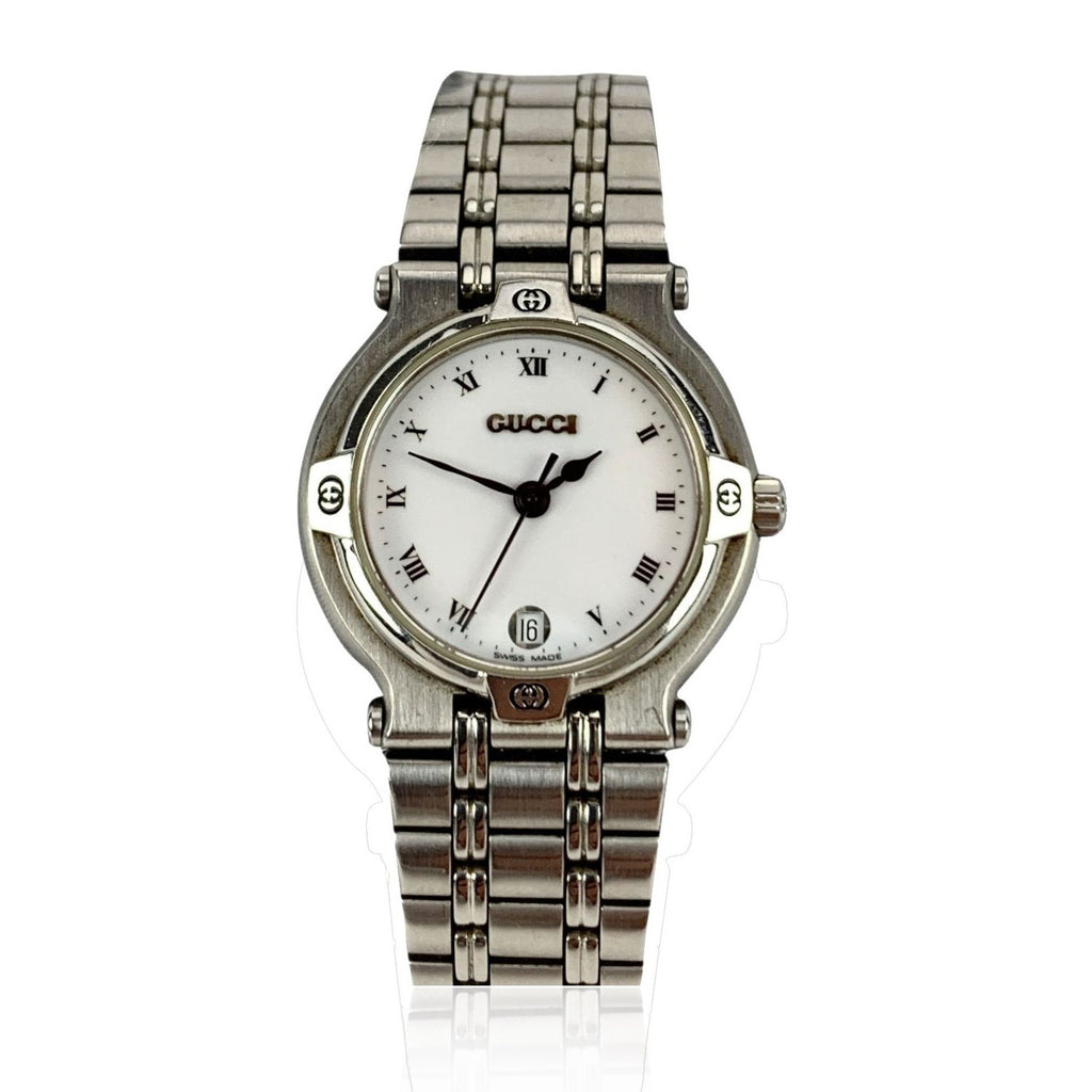 Gucci Vintage Stainless Steel Mod 9100 L Wrist Watch White Dial