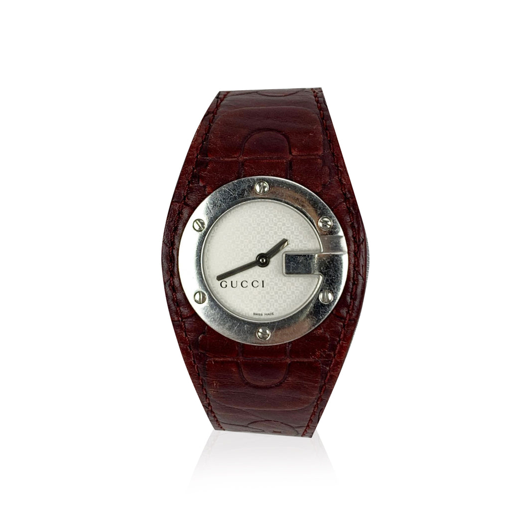 Gucci Burgundy Leather Stainless Steel Mod 104 Wrist Watch