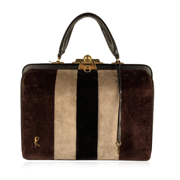 Roberta Di Camerino Vintage Brown Striped Velvet Doctor Bag