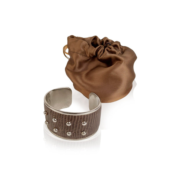 Tod's Brown Leather Studded Silver Metal Bangle Bracelet