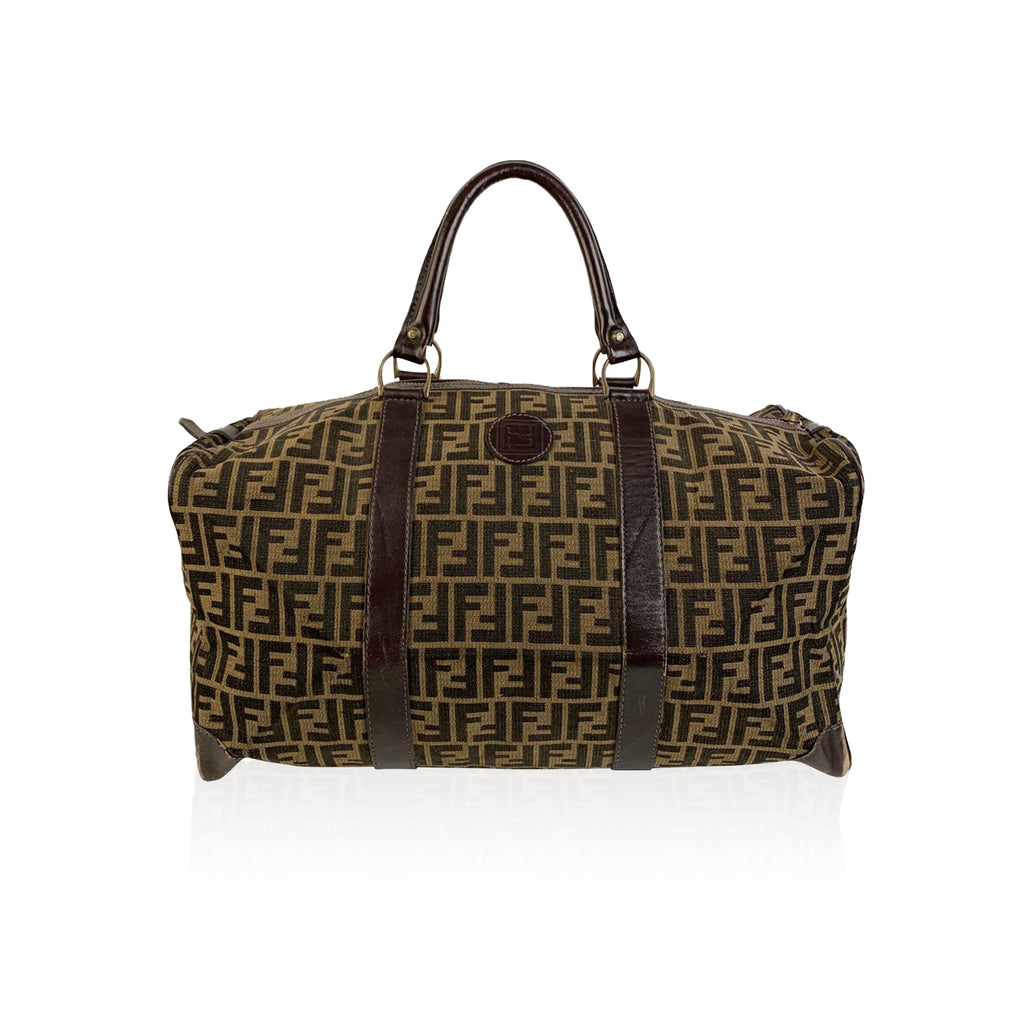 Fendi Vintage Zucca Monogram Canvas Duffle Weekend Bag