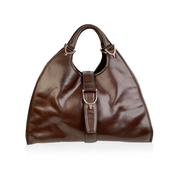 Gucci Vintage Brown Leather Stirrup Hobo Bag Handbag