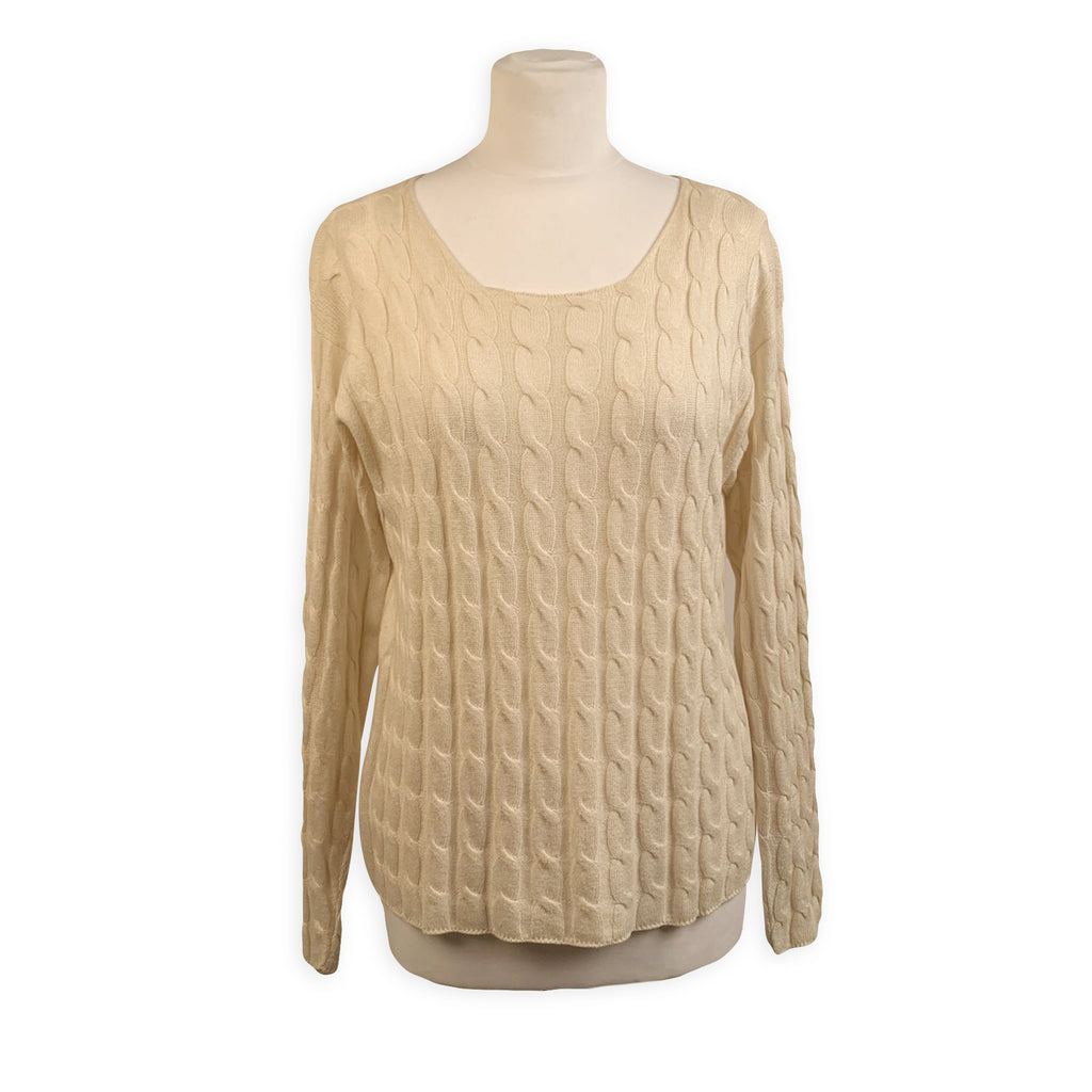 Malo White Cotton and Silk Knit Jumper Sweater Size 46