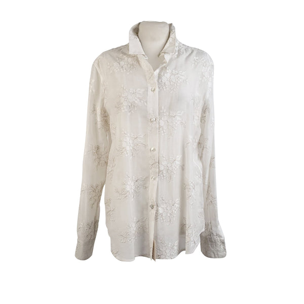 Etro White Voile Embroidred Button Down Shirt Size 48