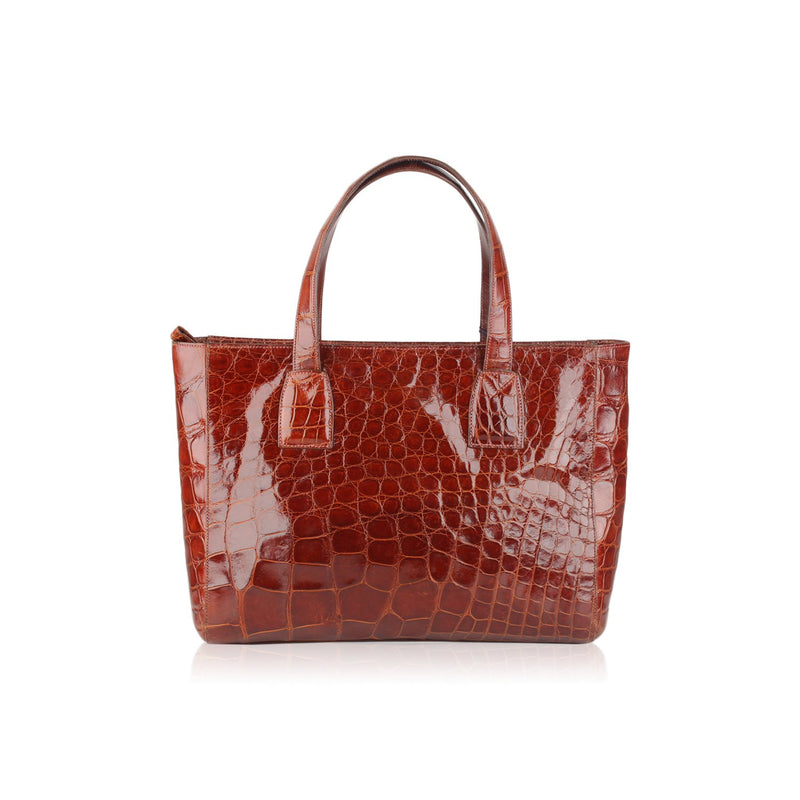 Crocodile Leather Tote Handbag