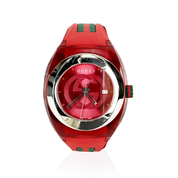 Gucci Sync Red Stainless Steel 137.1 Xxl Watch with Rubber Band