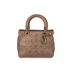 CHRISTIAN DIOR Bronze CANNAGE Quilted Leather LADY DIOR Bag