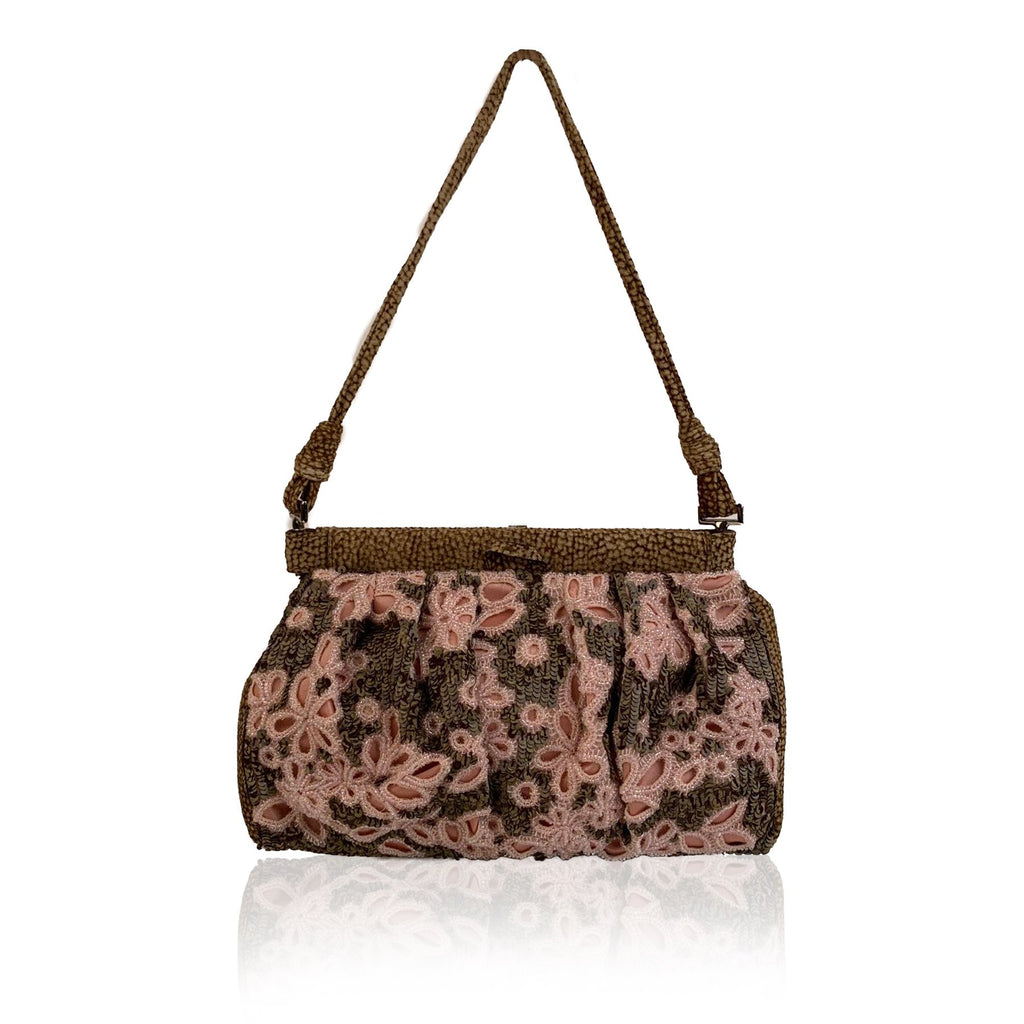 Borbonese Partrige Eye Canvas Embellished Small Shoulder Bag - OPHERTY & CIOCCI
