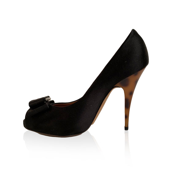 Giuseppe Zanotti Design Black Satin Open Toe Pumps Size 36.5