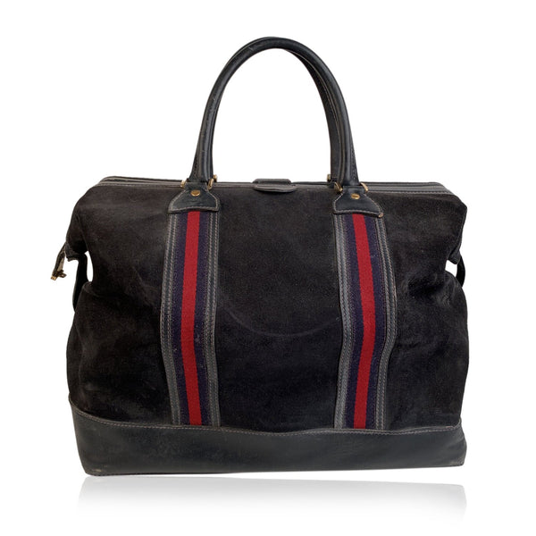 Gucci Vintage Blue Suede Web Travel Weekender Travel Boston Bag