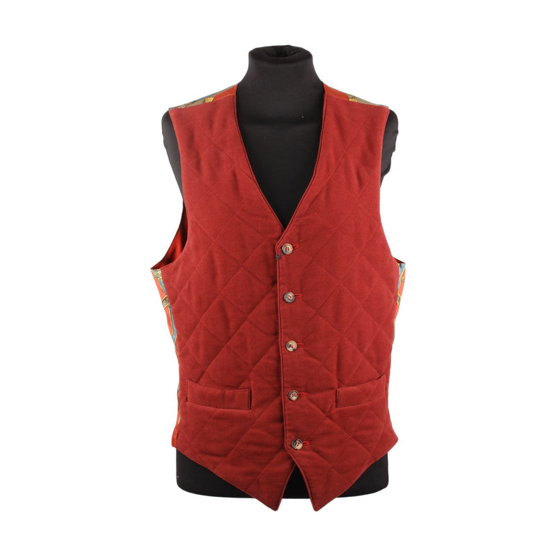 Vintage Equestrian Men Vest with Silk Panel Size 46