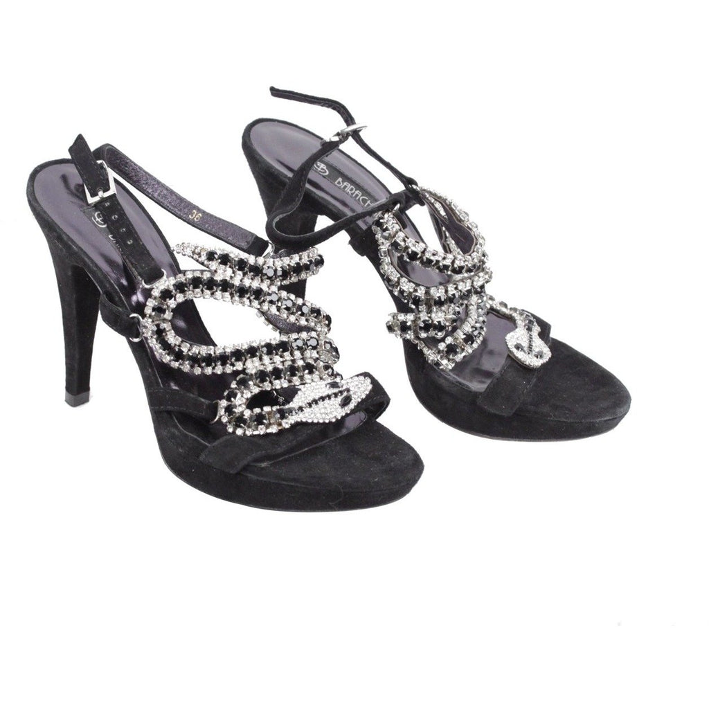 Barachini Snake Sandals Heels with Crystals Size 36