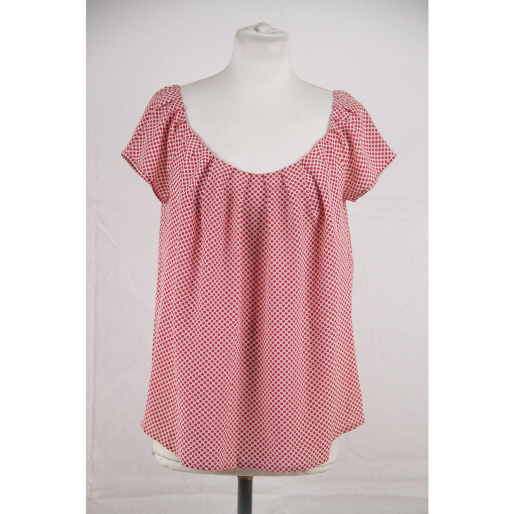 CHRISTIAN DIOR Silk Polka Dot BLOUSE Short Sleeve TOP Size M