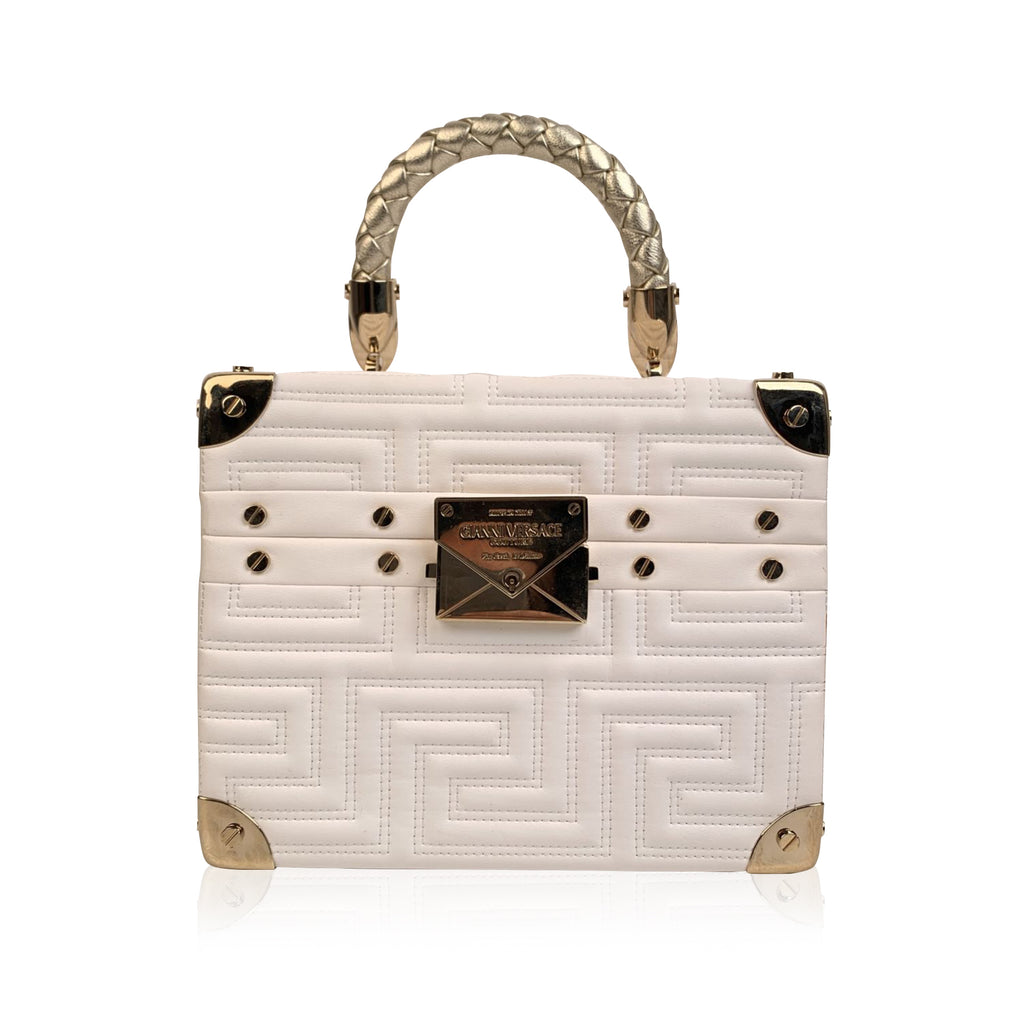 Gianni Versace Couture Limited Edition White Leather Train Case Bag
