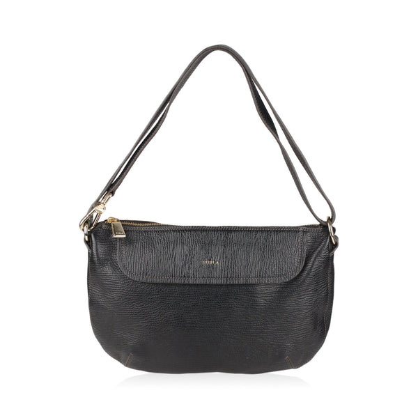 Furla BlackTextured Leather Crossbody Shoulder Bag